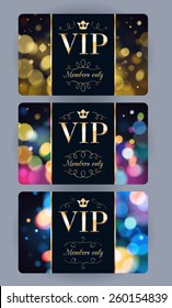 VIP cards with abstract bokeh glow background. Different cards categories. Members only design.