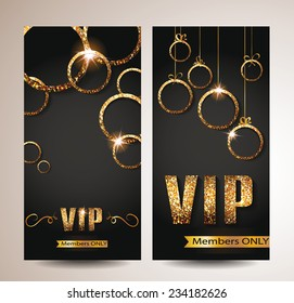 VIP cards with gold shiny circles