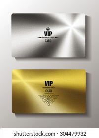 Vip cards with metal texture