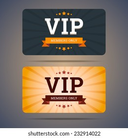 Vip club card design templates in flat style. Vector illustration.