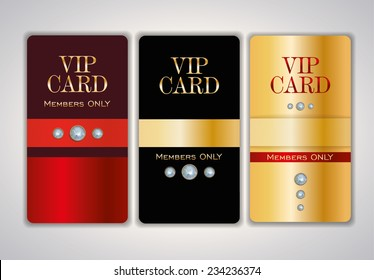 Vip club card design templates with crystals. Vector illustration.