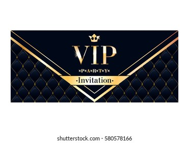 VIP club party premium invitation card poster flyer. Black and golden design template. Quilted pattern decorative vector background.