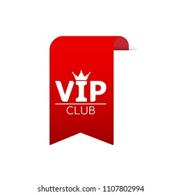 Vip Club red ribbon for web. Vector stock illustration.