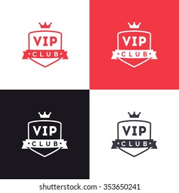 Vip club sign logo icon design with ribbon and crown. Exclusive membership badge. Vector creative modern illustration
