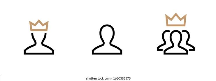 VIP Customer User icon vector. Person Profile Symbol. Avatar Sign. Editable stroke vector