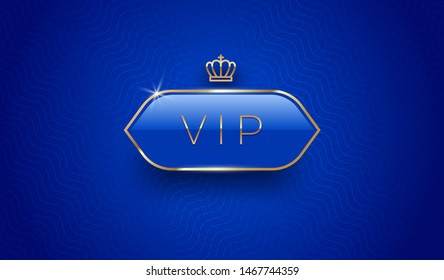 Vip glass label with golden crown and frame on a blue pattern background. Premium design. Luxury template design. Vector illustration.