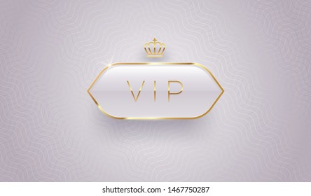 Vip glass label with golden crown and frame on a gray pattern background. Premium design. Luxury template design. Vector illustration.