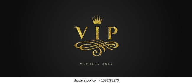 VIP - Glitter gold logo with crown and flourishes element  on black background. Vector illustration.