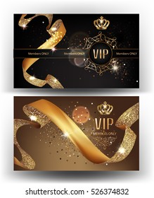 VIP gold banners with sparkling curly ribbons and crowns. Vector illustration