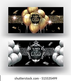 VIP gold and silver cards with  vintage frames and air balloons. Vector illustration