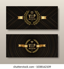 VIP golden invitation template - type design with crown, laurel wreath and ribbon on a black pattern background. Vector illustration.