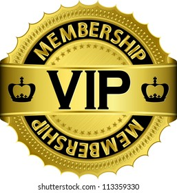 Vip golden label with ribbon, vector illustration