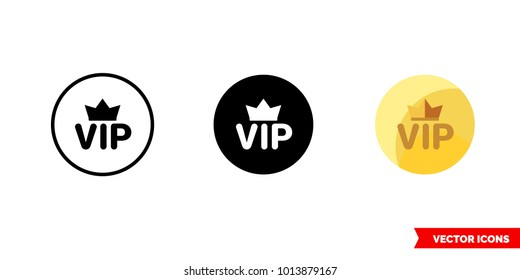 Vip icon of 3 types: color, black and white, outline. Isolated vector sign symbol.
