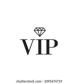 VIP icon with diamond. Vector