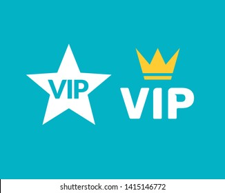 Vip icon flat exclusive important membership badge crown. Vip icon member club.