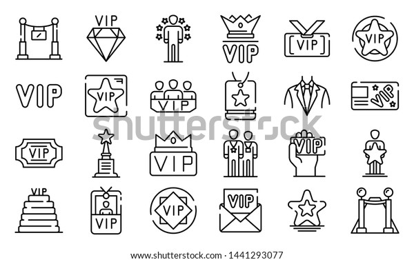 Vip icons set. Outline set of vip vector icons for web design isolated on white background
