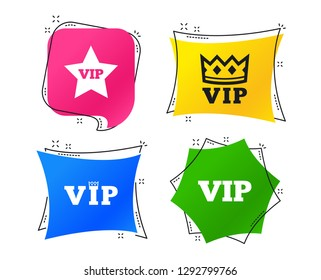 VIP icons. Very important person symbols. King crown and star signs. Geometric colorful tags. Banners with flat icons. Trendy design. Vector
