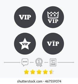 VIP icons. Very important person symbols. King crown and star signs. Chat, award medal and report linear icons. Star vote ranking. Vector