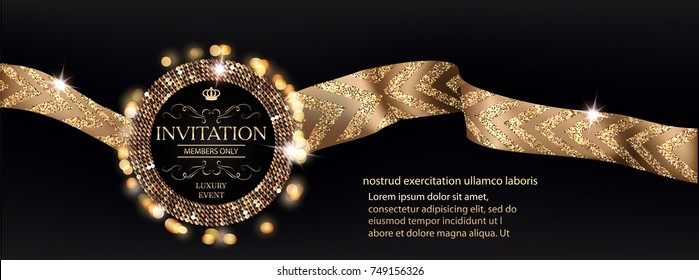 VIP invitation banner with gold ribbons with pattern. Vector illustration