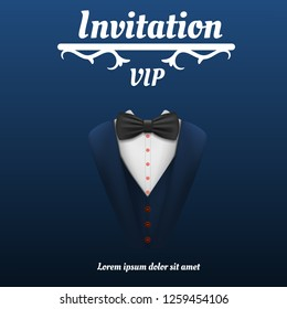 Vip invitation bowtie smoking concept background. Realistic illustration of vip invitation bowtie smoking vector concept background for web design