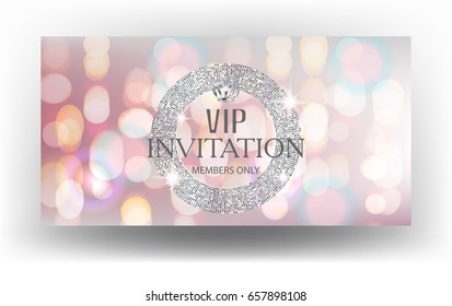 Vip invitation card with blurred background and sparkling silver round frame. Vector illustration