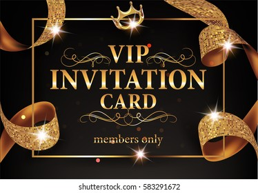 VIP INVITATION CARD WITH GOLD FRAME AND SPARKLING RIBBON