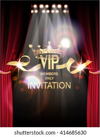 VIP invitation card with gold theater curtains and spot lights on the background