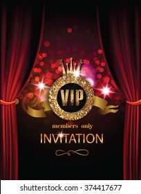 VIP invitation card with theater curtains and lights on the background