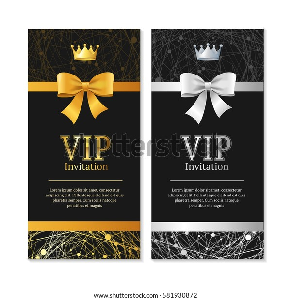 Vip Invitation and Card Vertical Set Shiny Expensive Decoration Design. Vector illustration