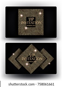 Vip invitation cards with abstract gold design elements. Vector illustration