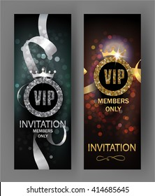 VIP invitation cards with gold and silver ribbons and glowing background