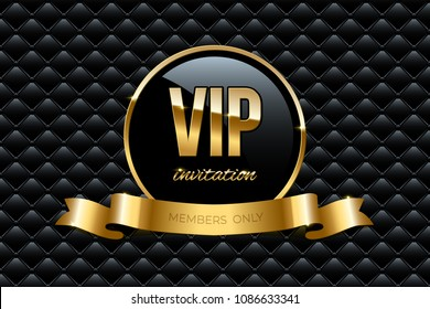 VIP invitation design template. Vector golden ring with ribbon and VIP invitation text on black luxury background.