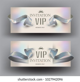 VIP invitation elegant cards with ribbons and pearl background. Vector illustration