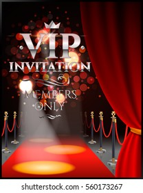 VIP invitation inscriptions with red theater curtains and velvet carpet.