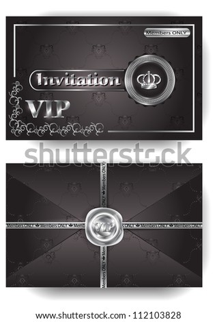 VIP Invitation Platinum Envelope With Pattern And Stamp
