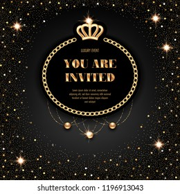 VIP invitation template with golden crown, chain frame and sparkling beads on black background