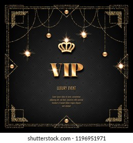 vip invitation template golden crown confetti stock vector royalty