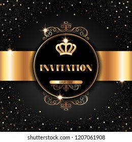 vip invitation template golden crown sparkling stock vector royalty