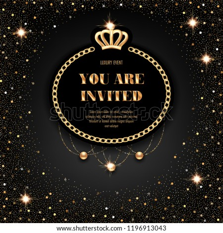 vip invitation template golden crown chain stock vector royalty