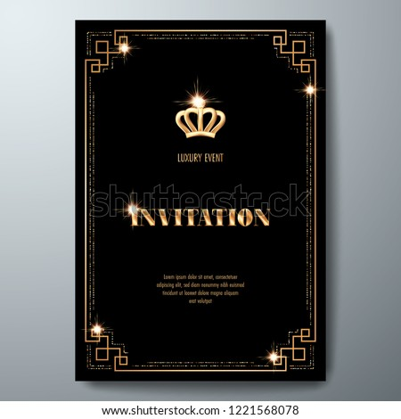 vip invitation template golden crown art stock vector royalty free