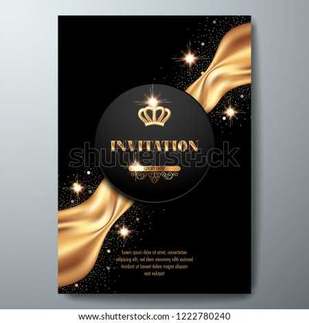 vip invitation template golden crown smooth stock vector royalty