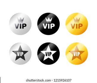VIP label or tag golden silver design badge. Vector vip emblem sticker attractive set.