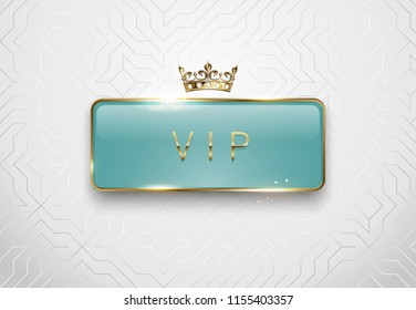 Vip light green glass label with golden frame sparks and crown on white background. Premium glossy template. Vector luxury illustration