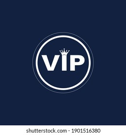 Vip logo with crown and black background vector dedign.
