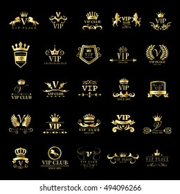 VIP Logo Set - Isolated On Black Background - Vector Illustration, Graphic Design. For Web,Websites,Print,Presentation Templates,Mobile Applications And Promotional Materials