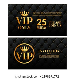 Vip luxury invitation event. Vintage leather exclusive invitation card design gold membership.
