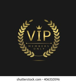 VIP members only. Golden badge on black background. Vip badge for celebrity.