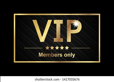 Vip Members Only Sticker - Golden Vector Illustration Banner Over Black Background