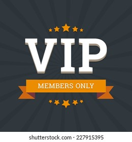 VIP - members only vector background card template with stars and ribbon.