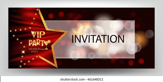 VIP party elegant horizontal invitation card  with  bokeh background and star shaped frame. Vector illustration